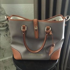 Grey and brown dooney and Bourke large purse